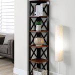 Oxford 5 Tier Corner Bookcase In Cherry Black Convenience Concepts 203080ch