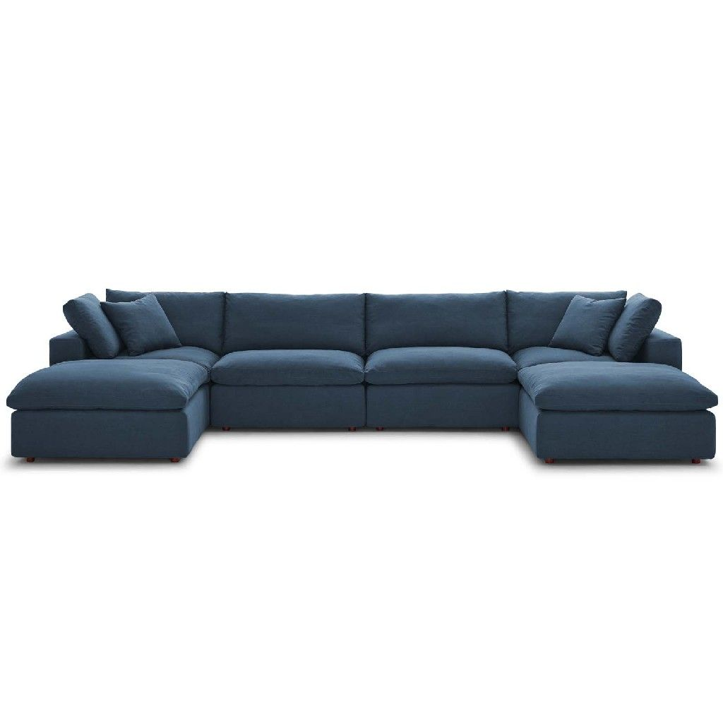commix down filled overstuffed 6 pc sectional sofa set in azure east end imports eei 3362 azu