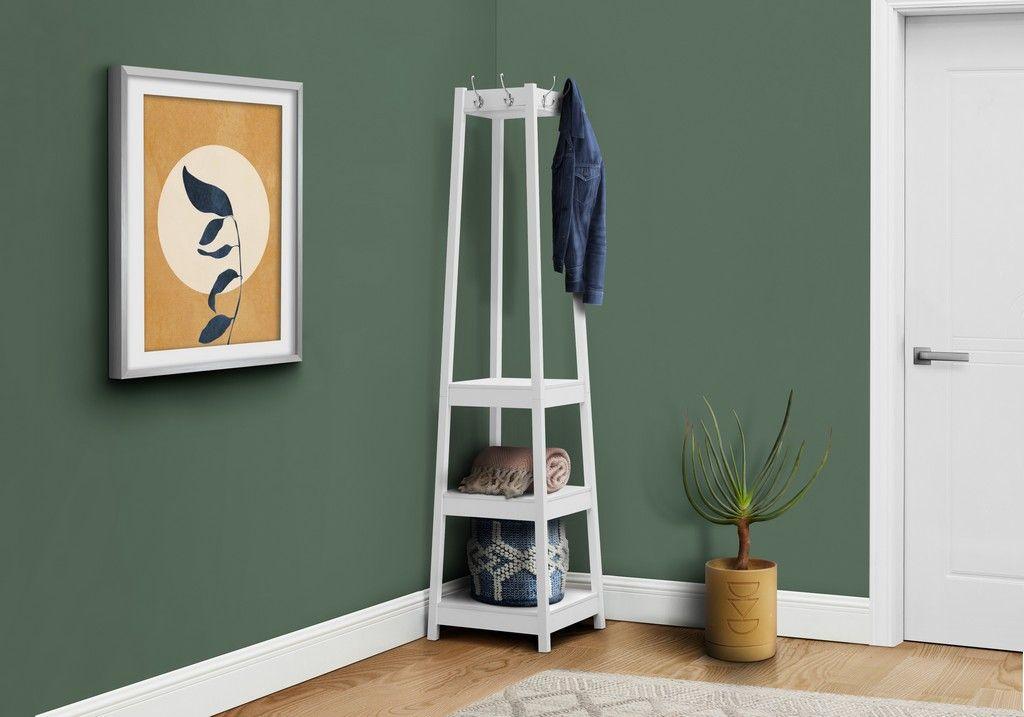 coat rack 72 h white corner w 3 shelves monarch specialties i 2759