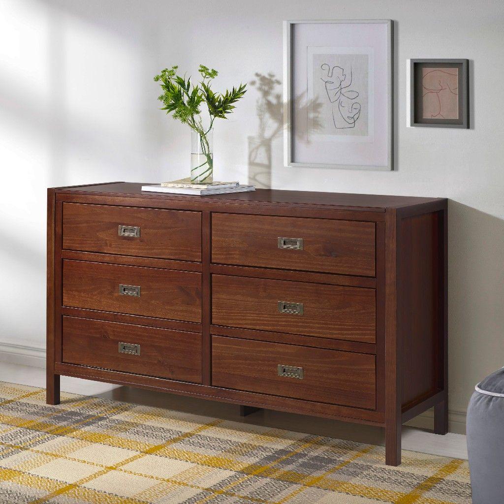 57 classic solid wood 6 drawer dresser in walnut walker edison br6dlyddrwt