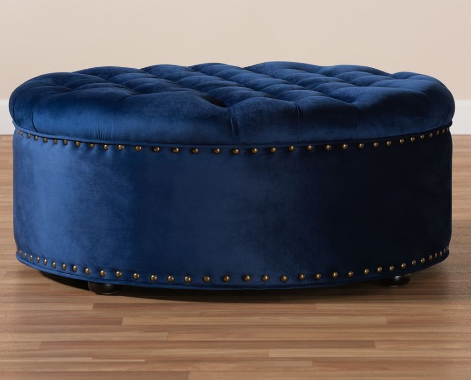 baxton studio iglehart modern and contemporary royal blue velvet fabric upholstered tufted cocktail ottoman 532 royal blue otto