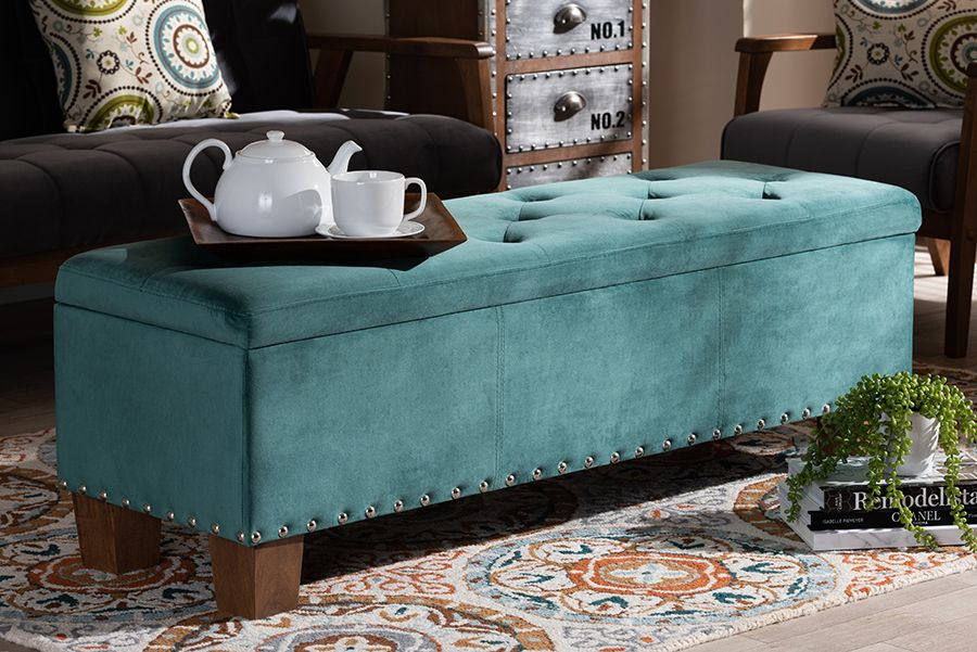 baxton studio hannah modern contemporary teal blue velvet fabric upholstered button tufted storage ottoman bench wholesale interiors bbt3136 teal