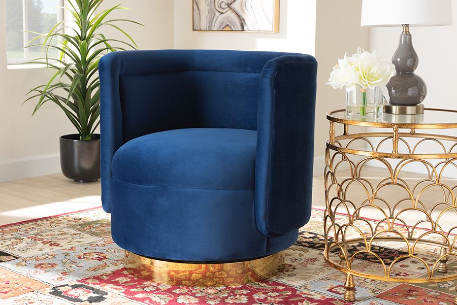 baxton studio saffi glam and luxe royal blue velvet fabric upholstered gold finished swivel accent chair wholesale interiors tsf 6653 royal
