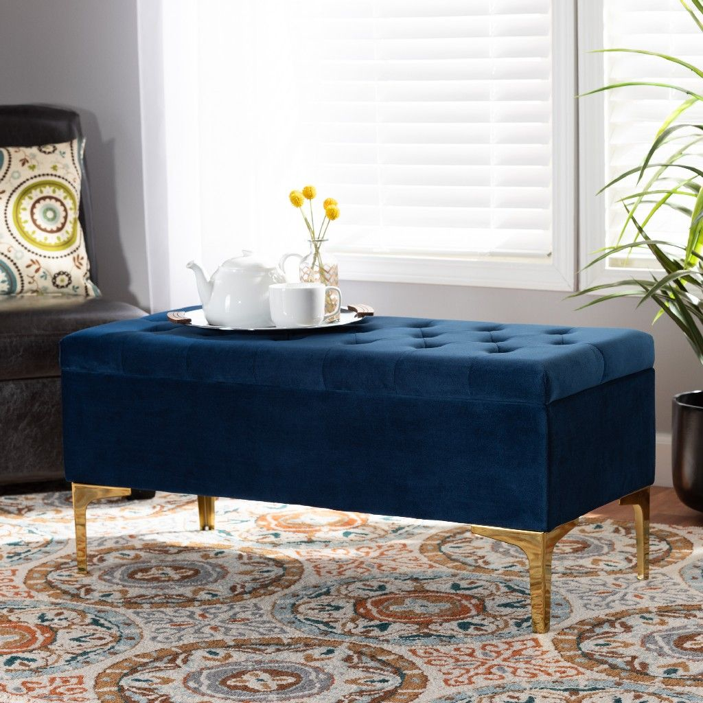 baxton studio valere glam luxe navy blue velvet fabric upholstered gold finished button tufted storage ottoman wholesale interiors ws h68 gd navy