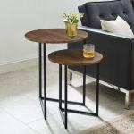 2 Piece V Leg Nesting Side Tables In Dark Walnut Black Walker Edison Afvicnstdw
