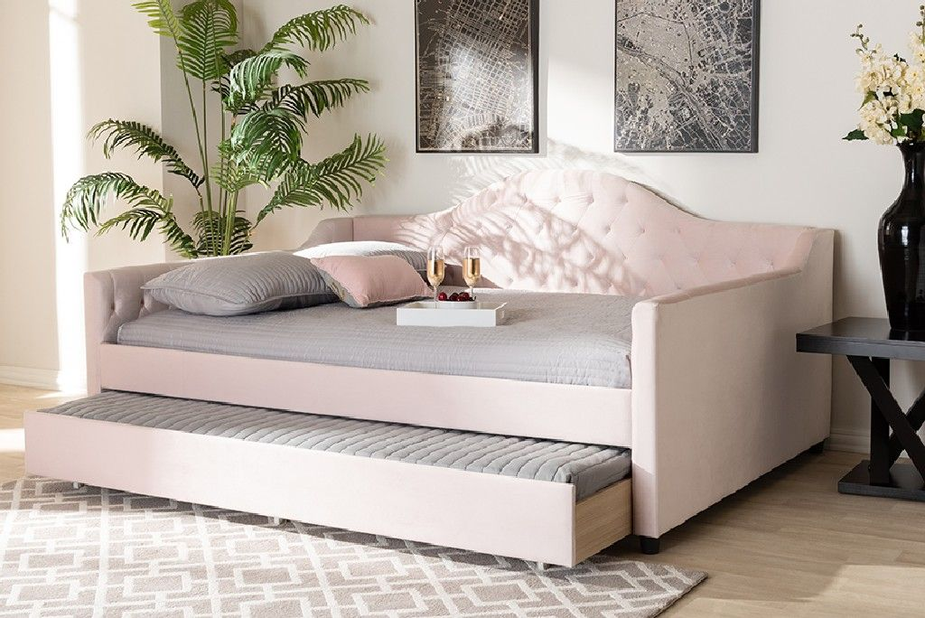 baxton studio perry modern contemporary light pink velvet fabric upholstered button tufted full size daybed w trundle cf8940 light