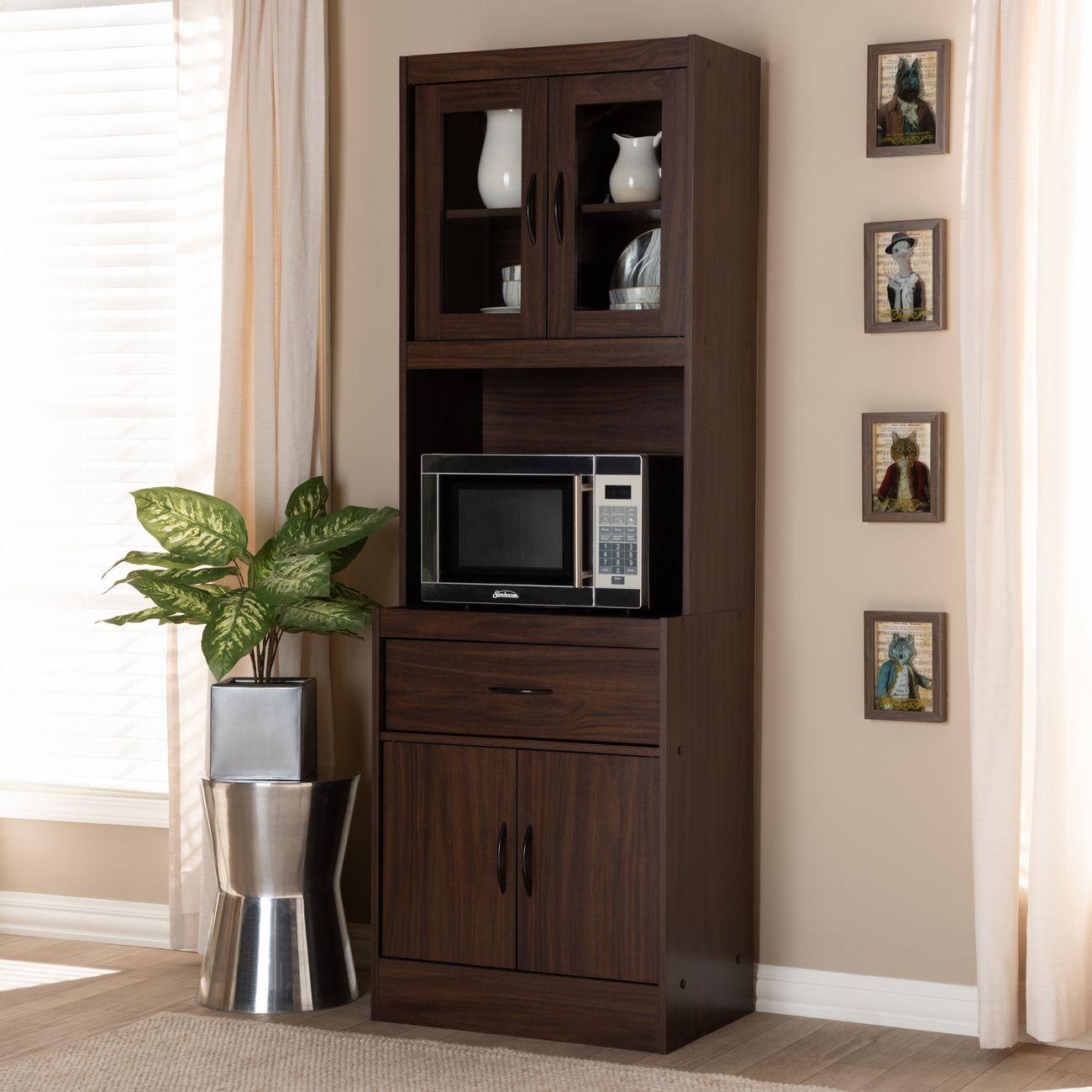 baxton studio laurana modern contemporary dark walnut finished kitchen cabinet hutch ws883200 dark walnut