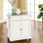 Stainless Steel Top Portable Kitchen Cart Island In White Finish Crosley Kf30022ewh