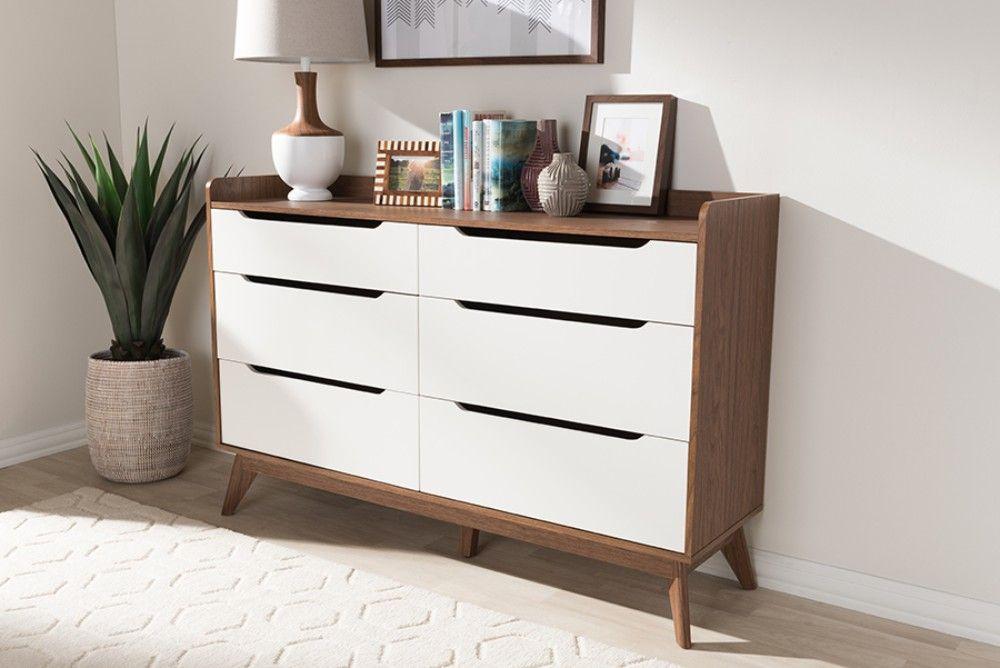 baxton studio brighton mid century modern white walnut wood 6 drawer storage dresser brighton walnut white 6dw chest