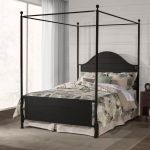 Cumberland Queen Canopy Bed In Textured Black Metal Bed Rail Included Hillsdale 2113bqcr