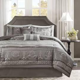 madison park bellagio cal king 7 piece jacquard comforter set in grey olliix mp10 4884