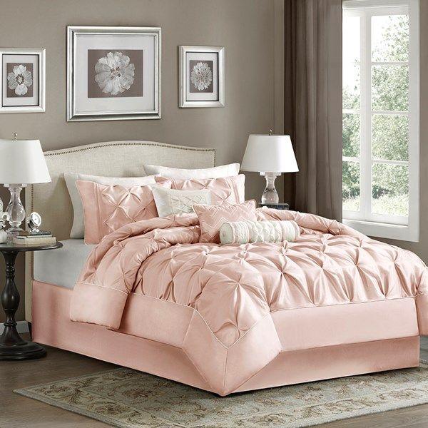 madison park laurel queen 7 piece comforter set in blush olliix mp10 5114