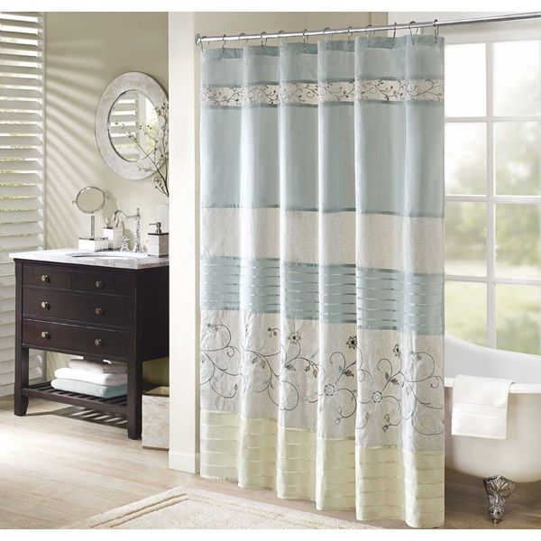 madison park serene 72x72 faux silk embroidered floral shower curtain in aqua olliix mp70 4862