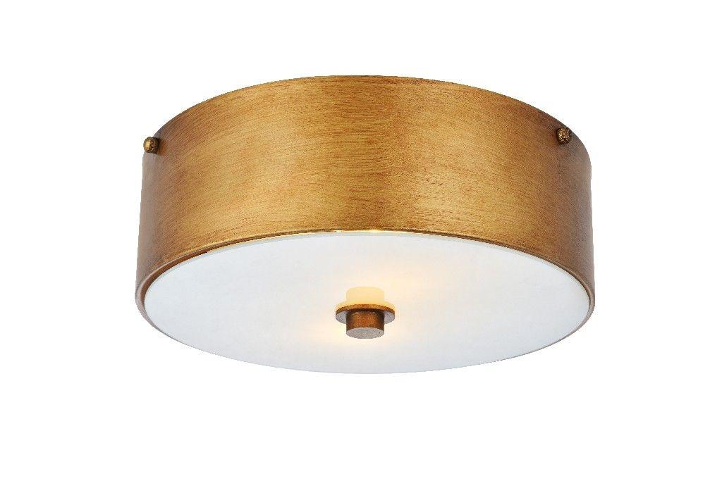 hazen 2 light 12 inch vintage gold flush mount elegant lighting ld6022