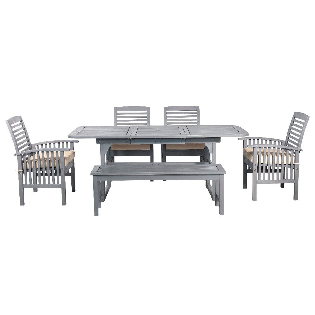 6 piece classic outdoor patio dining set in grey wash walker edison ow6sgw
