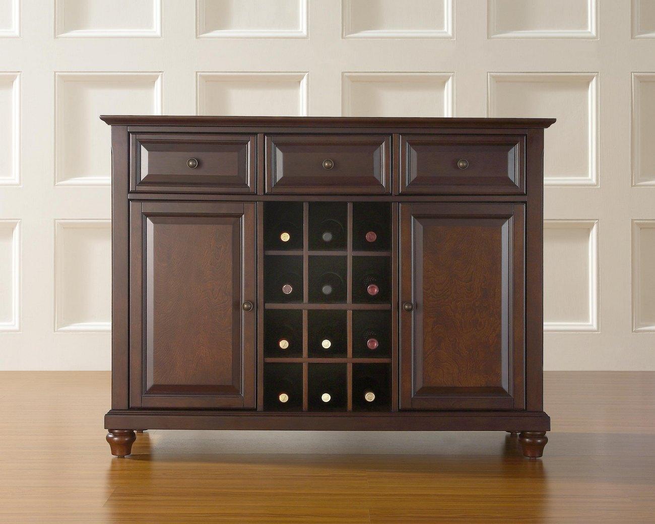 Cambridge Buffet Server Sideboard Cabinet W Wine Storage In Vintage Mahogany Finish Crosley Kf42001dma