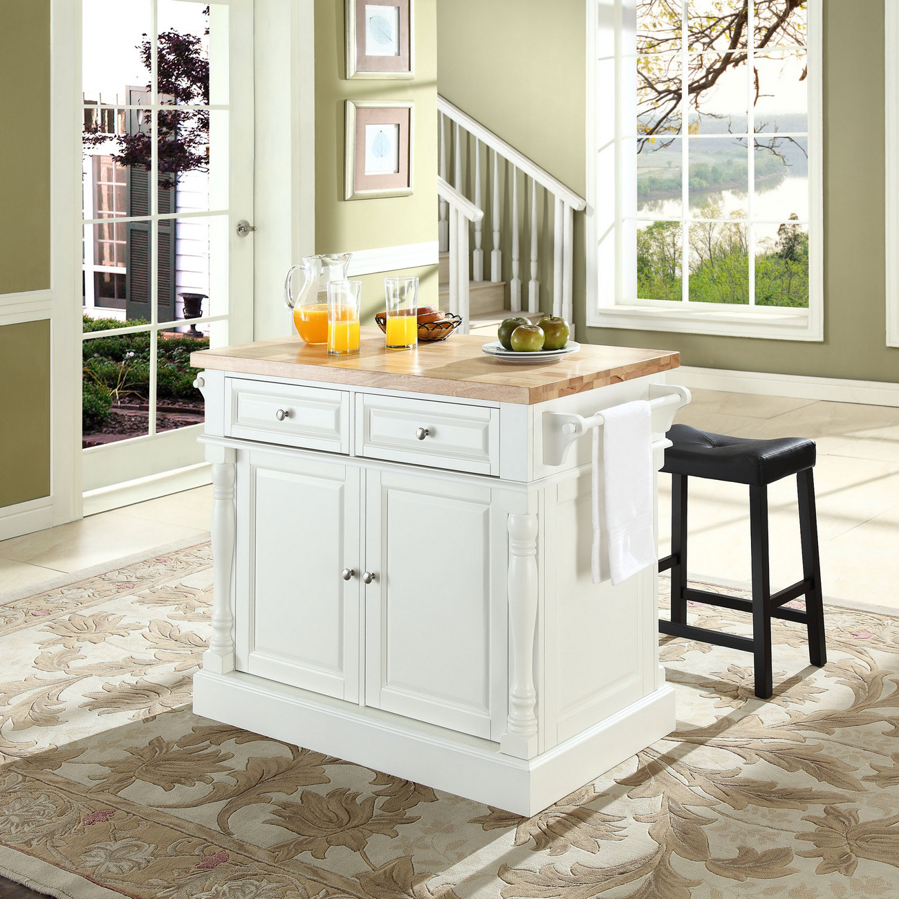 Oxford Butcher Block Top Kitchen Island In White Finish W 24 Black Upholstered Saddle Stools Crosley Kf300064wh