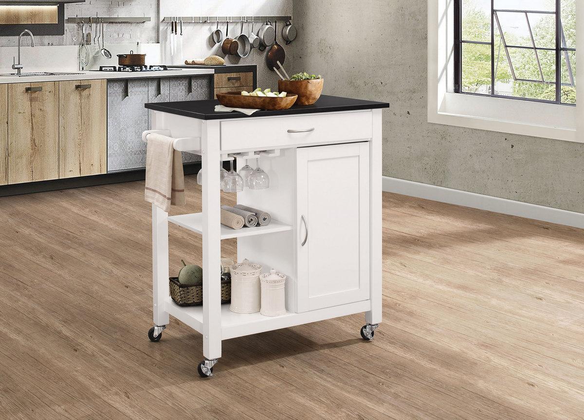 Ottawa Kitchen Cart In Black White Acme Furniture 98320