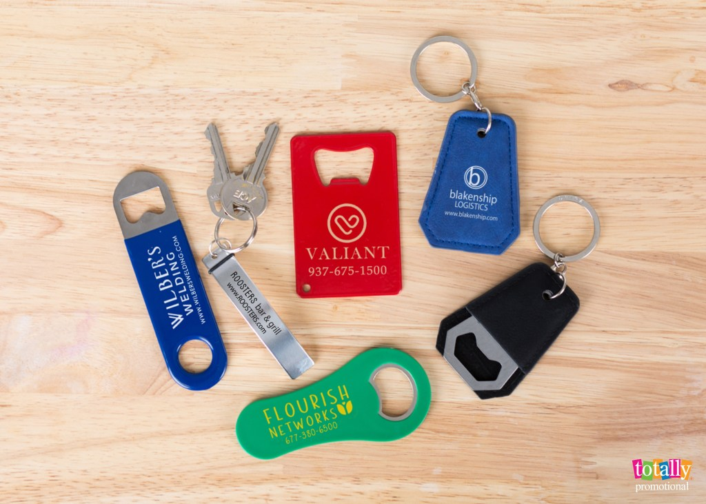 business card alternatives, bottle opener business cards and keychains