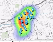 Coverage heat map of free Wifi in Stockport copy