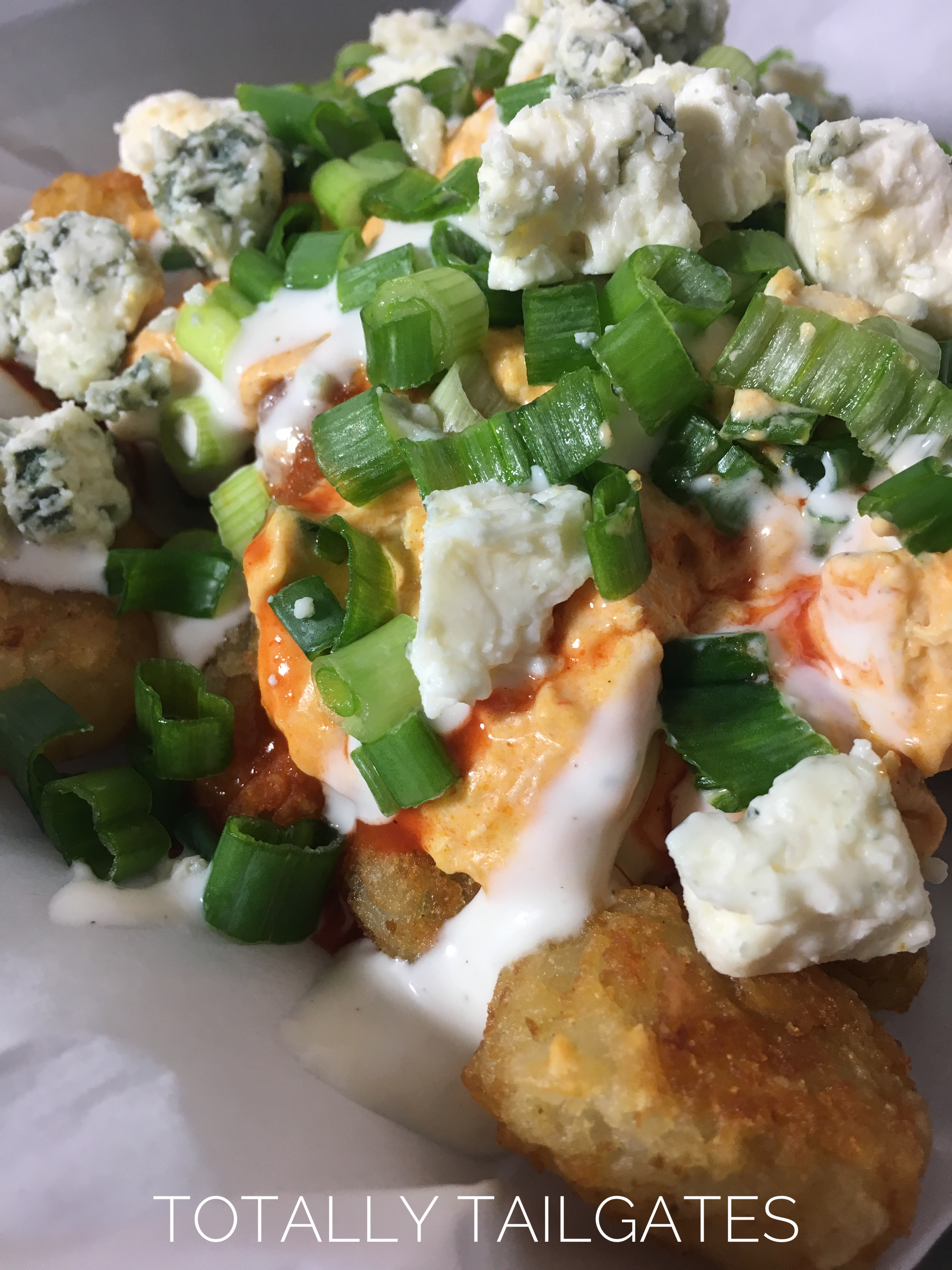 Loaded Buffalo Chicken Tater Tots are great for tailgate parties!