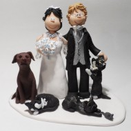 Family   Pet Cake Toppers   Totally Toppers com This couple invited their 3 cats and dog to their wedding