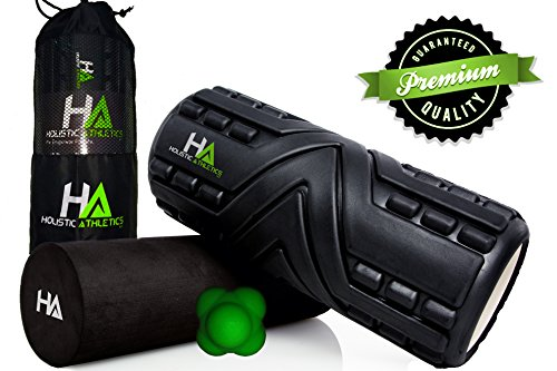 PREMIUM – 3 for 1 – ECO Friendly Massage Foam Roller by Holistic Athletics. Includes Bonus Massage Ball And Free Travel Bag! Optimize Your Health Now!