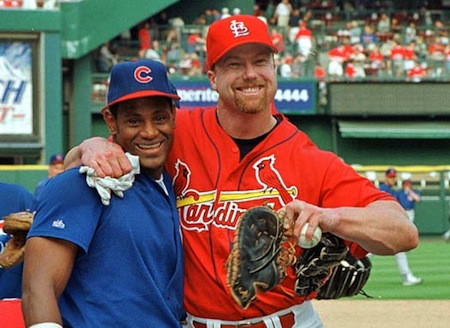 sammy sosa hugging mark mcgwire disgraced sports heroes