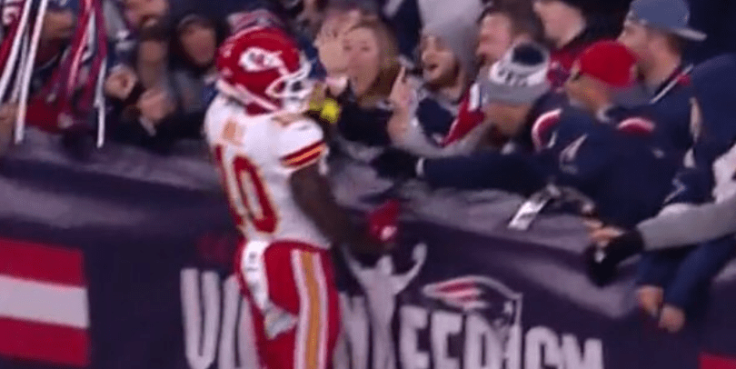 Patriots Fans Shower Tyreek Hill With Beer Amp Middle