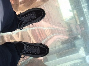 The glass floor at the top of Blackpool Tower was too much for Walmsley, who is afraid of heights.