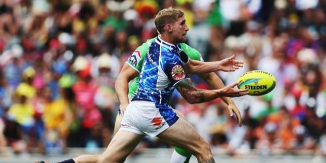 Sam Tomkins in action for New Zealand Warriors in the Auckland Nines. ©FairfaxMedia