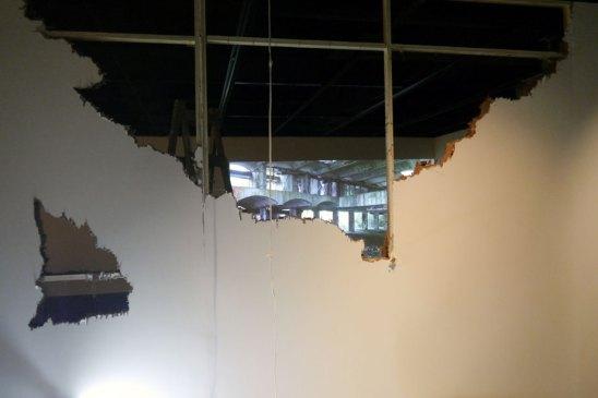 Alec Shepley's video display viewed through the broken wall display