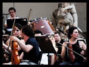 The photo above shows musicians just before they played Beethoven's 9th Symphony at the Maggio Musicale Fiorentino in 2008.