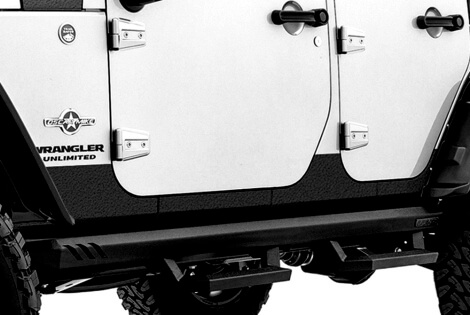 Rampage Products: Rhino Linings Rocker Guards for Jeep Wrangler