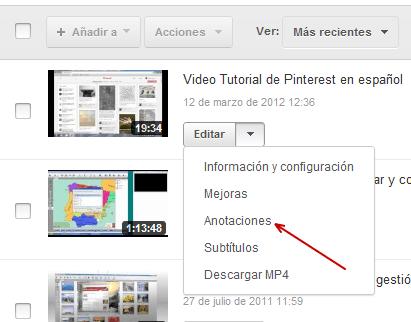 Editor de vídeo Anotaciones en YouTube