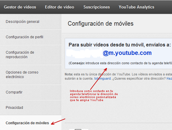 Subir un video a YouTube via móvil