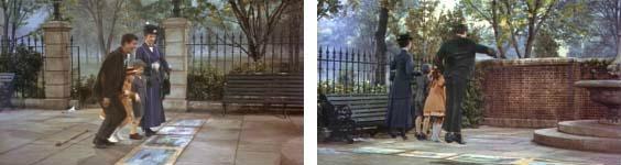 Mary Poppins saltando dentro de cuadro