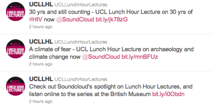 Universidad College London en SoundCloud y Twitter