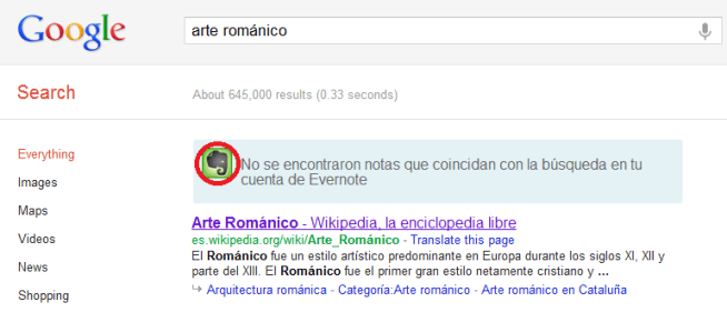 Sincronizar evernote con Google search