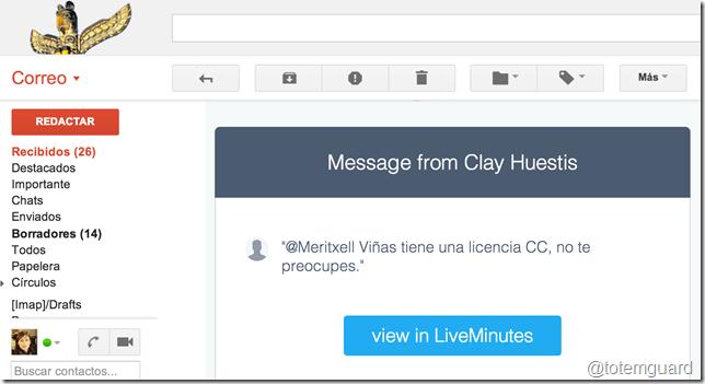 mensaje email liveminutes