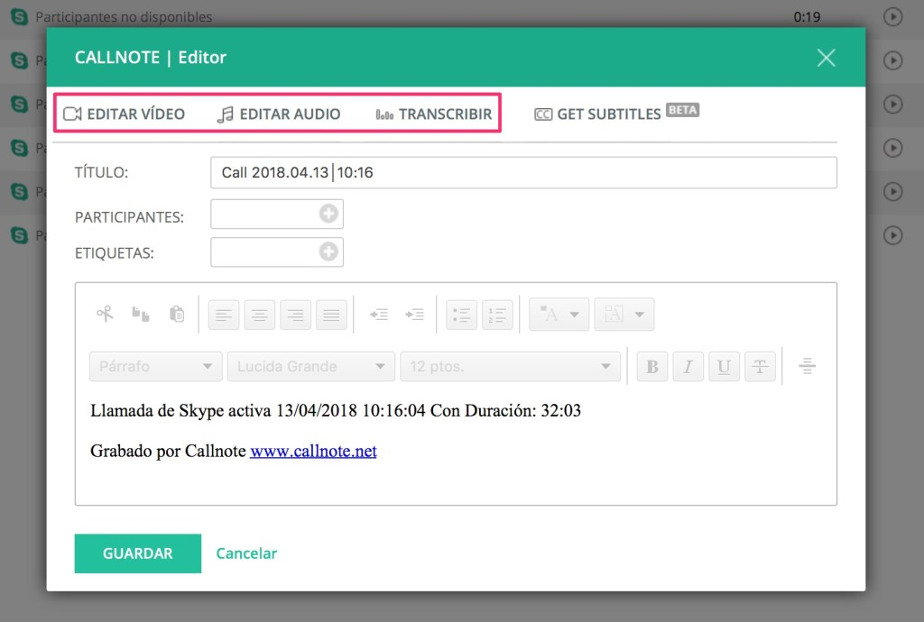 editar video llamada call note transcribir texto