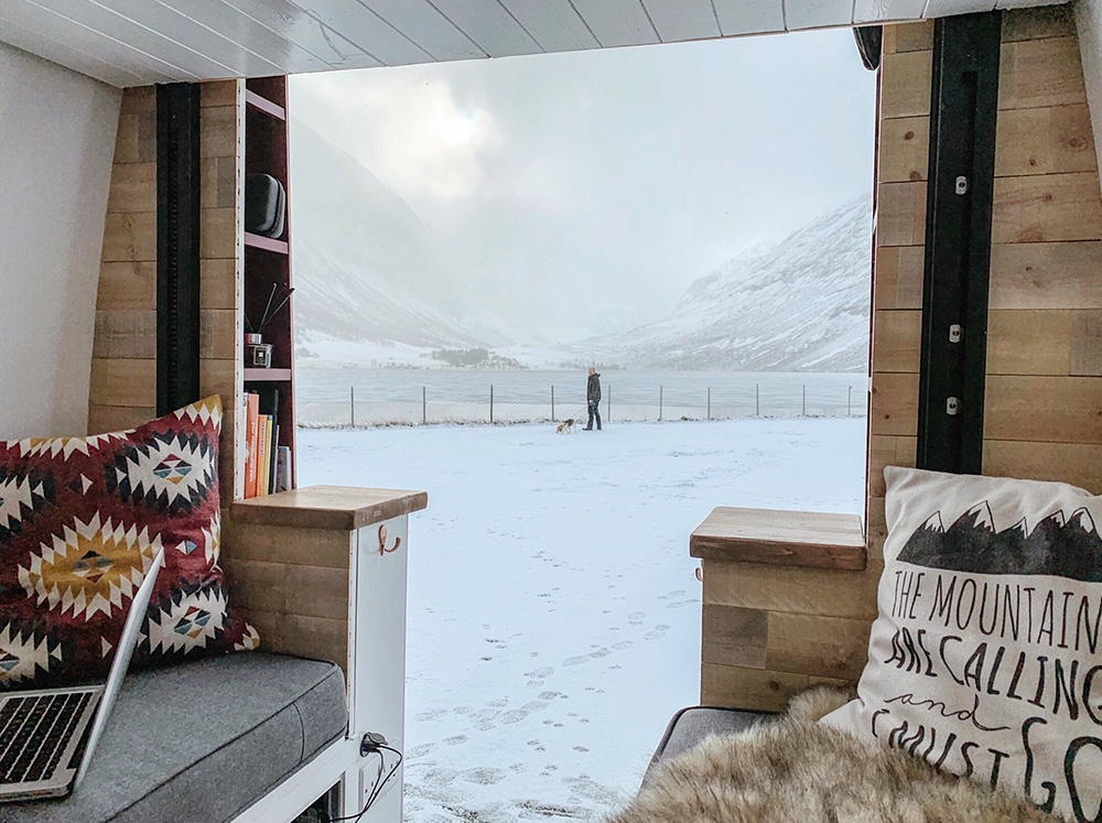 about van in snow