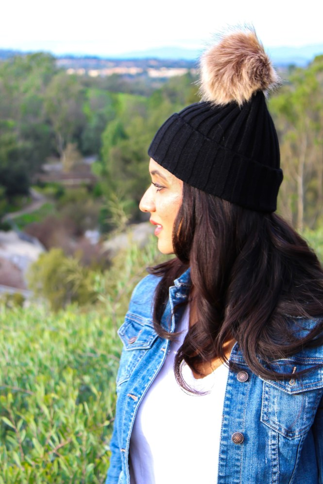 Lifestyle blogger Debbie Savage of To Thine Own Style Be True sharing her love for ILYMIX Fashion Accessories with her two daughters wearing Faux Fur Pom Pom Beanie