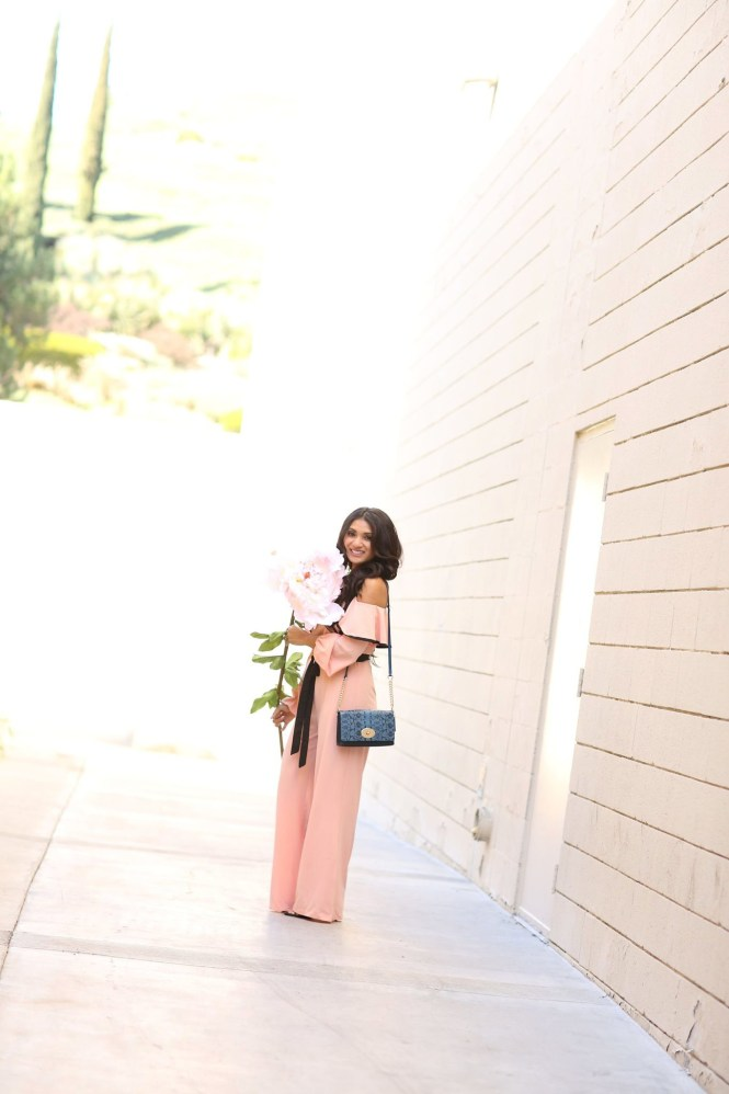 To Thine Own Style Be True   Debbie Savage   Shein   Pink Cold Shoulder Ruffle Jumpsuit