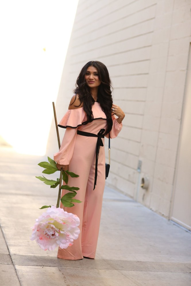 To Thine Own Style Be True | Debbie Savage | Shein | Pink Cold Shoulder Ruffle Jumpsuit