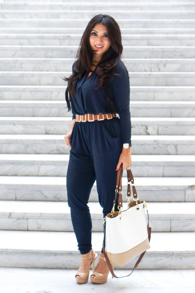 Debbie Savage of To Thine Own Style Be True Wearing a Navy Blue Jumpsuit