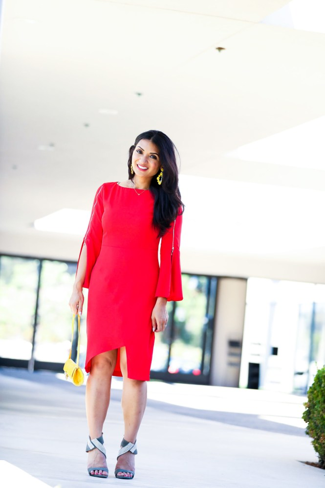 Red Bell Sleeve Sheath Dress