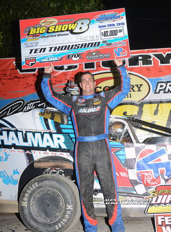 Friesen claimed the win  at  the Super DIRTCar Series 'Big Show 8' Event at Albany-Saratoga Speedway