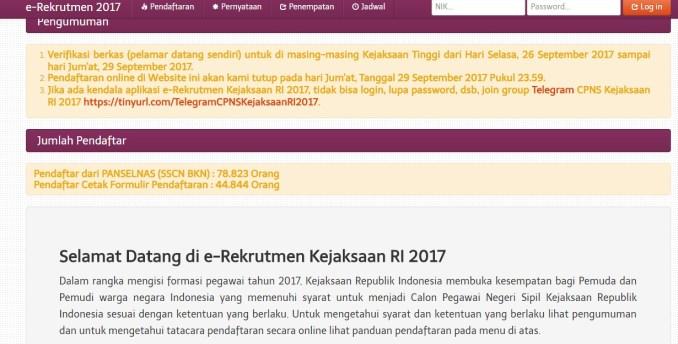 Pengumuman Daftar Nama Lulus Seleksi Administrasi CPNS Kejagung 2017