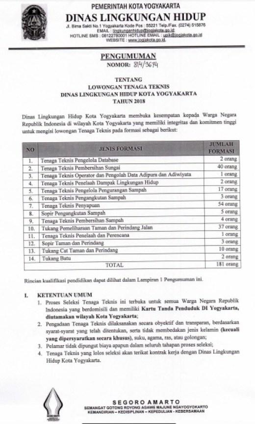 Penerimaan Pegawai Non PNS Dinas Lingkungan Hidup Kota YogyakartaLulusan SD/SMP/SMA/S1, Lowongan KerjaPegawai Non PNS Dinas Lingkungan Hidup Kota Yogyakarta Lulusan SD/SMP/SMA/S1 tahun 2017